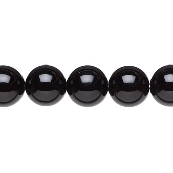 """Bead, black onyx (dyed), 10mm round, A- grade, Mohs hardness 6-1/2 to 7. Sold per 15-1/2"""" to 16"""" strand."""