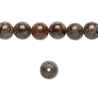 """Bead, brown snowflake jasper (natural), 8mm round, B grade, Mohs hardness 6-1/2 to 7. Sold per 15-1/2"""" to 16"""" strand."""
