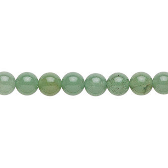 """Bead, green aventurine (natural), 6mm round with 0.5-1.5mm hole, B grade, Mohs hardness 7. Sold per 15-1/2"""" to 16"""" strand."""