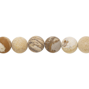 Bead, picture jasper (natural), matte, 8mm round with 0.5-1.5mm hole, B grade, Mohs hardness 6-1/2 to 7. Sold per 8-inch strand, approximately 20-25 beads.