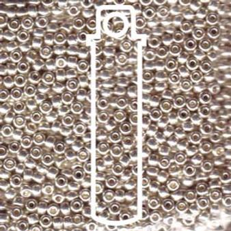 "8-91051 - 8/0 - Miyuki - Galv Silver - 23gm, 5"" Vial (approx 858 beads) - Glass  Round Seed Bead"