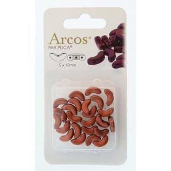 ARC510-00030-01750 - 5x10mm - Les Perles Par Puca - Bronze Red Matte - 5gm Card (approx 21 beads) - Glass Arcos