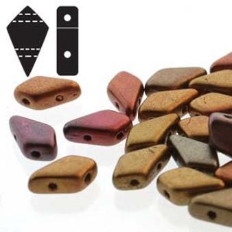 KT9500030-01640 - 5 x 9mm -  Czech Beads - Violet Rainbow -  20gm, bag (approx 100 beads) - Glass 2 hole Kite beads