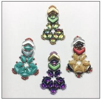 Free Download Pattern - Chevron Gemduo earrings - designed by Leslie Rogalski