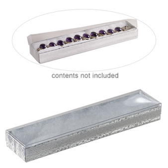 Box, plastic and paper, cotton-filled, silver and clear, 8-1/8 x 1-7/8 x 7/8 inch rectangle. Sold per pkg of 10.