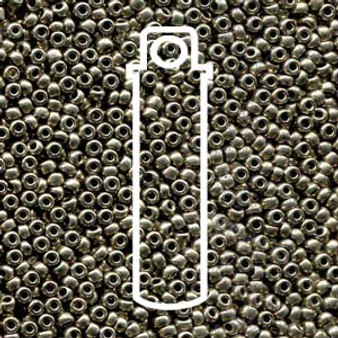 "11-18549 - 11/0 - Czech Beads - Met Chrome - 24gm, 5"" Vial - Glass  Round Seed Bead"