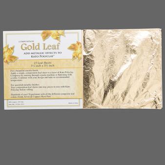 Gold leaf sheet, 88% copper/12% zinc, 5-1/2 x 5-1/2 inches. Sold per pkg of 25 sheets.