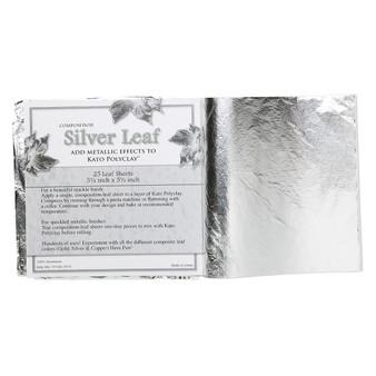 Imitation silver leaf sheet, 100% aluminum, 5-1/2 inch square. Sold per pkg of 25 sheets.