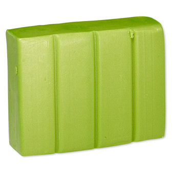 Polymer clay, Premo! Sculpey Accents®, bright green pearl. Sold per 2-ounce bar.