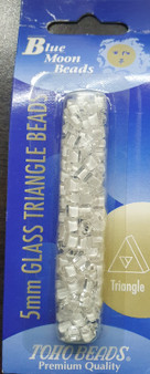 Blue Moon Beads - Toho Beads - 5mm Glass triangles - 13grams - White Lined Clear