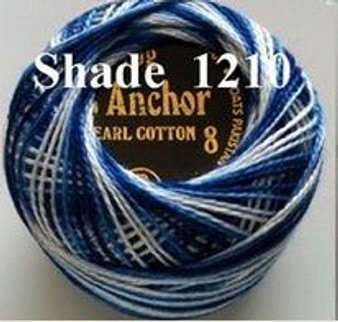 Anchor Pearl Crochet Cotton Size 8 - 10gm Ball - Variegated (1210)