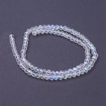4mm - Glass Beads - Crystal AB - 1 Strand ( approx 98 beads) Electroplated Faceted Round