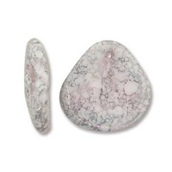 PTL1413-02020-15435 -  14 x 13mm - Czech - White Terracotta Copper- 50 beads - Petal