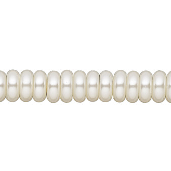 8x3mm - Celestial Crystal® - Ivory - 2 Strands - Rondelle Glass Pearl