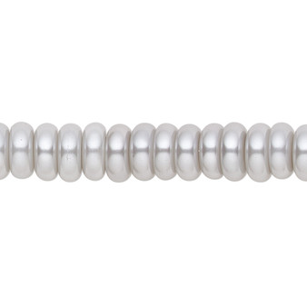 8x3mm - Celestial Crystal® - Silver - 2 Strands - Rondelle Glass Pearl