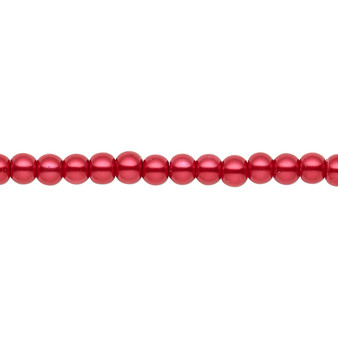 4mm - Celestial Crystal® - Red - 2 Strands - Round Glass Pearl