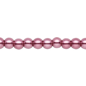 6mm - Celestial Crystal® - Dusty Rose - 2 Strands - Round Glass Pearl