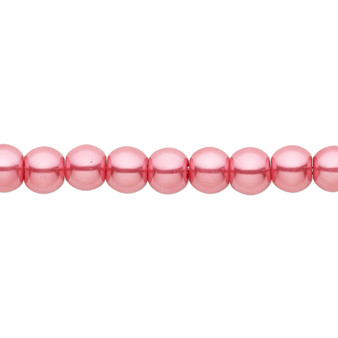 6mm - Celestial Crystal® - Bright Pink - 2 Strands - Round Glass Pearl