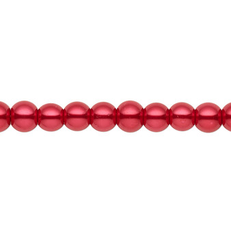 6mm - Celestial Crystal® - Red - 2 Strands - Round Glass Pearl