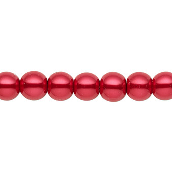 8mm - Celestial Crystal® - Red - 2 Strands - Round Glass Pearl