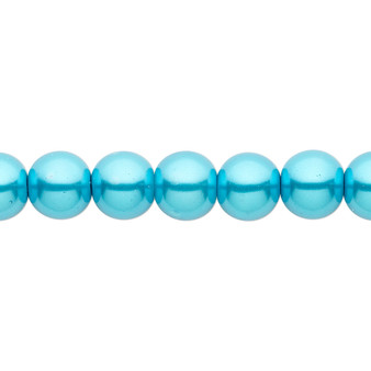 8mm - Celestial Crystal® - Turquoise Blue - 2 Strands - Round Glass Pearl