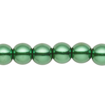 8mm - Celestial Crystal® - Forrest Green - 2 Strands - Round Glass Pearl