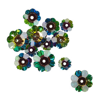 10x3.5mm / 8x3mm / 6x2mm - Celestial Crystal® - Clear Vitrail with Foil Back - 12 Pack - Margarita Flower