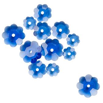 10x3.5mm / 8x3mm / 6x2mm - Celestial Crystal® - Tr Medium Blue - 12 Pack - Margarita Flower