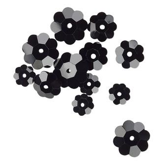 10x3.5mm / 8x3mm / 6x2mm - Celestial Crystal® - Opaque Black - 12 Pack - Margarita Flower