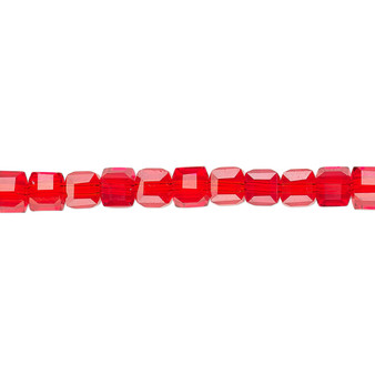 """4mm - Celestial Crystal® - Transparent Red  - 16"""" Strand  - 18 Facet Cube"""