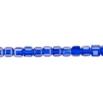"""4mm - Celestial Crystal® - Transparent Cobalt - 16"""" Strand  - 18 Facet Cube"""