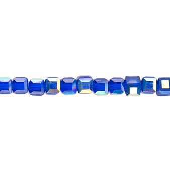 "4mm - Celestial Crystal® - Transparent Cobalt AB - 16"" Strand  - 18 Facet Cube"