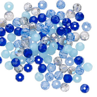 4mm - Celestial Crystal® - Blues Mix - 100 Pack  - Faceted Round