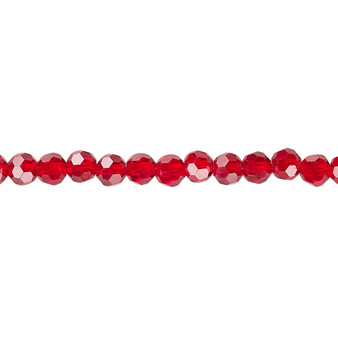4mm - Celestial Crystal® - Transparent Red - 1 Strand (approx. 100 Pack)  - 32 Facet Round