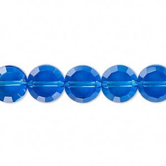 """10mm - Medium Blue - 16"""" strand (approx. 45 beads) - 26-facet Glass faceted flat round. (Last stock)"""