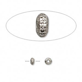 3.5 x 1.5mm - Antique Silver - 24pk - Pewter Rondelle Spacer Beads