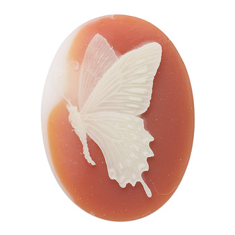 Cabochon, acrylic, peach and white, 40x30mm left-facing non-calibrated oval cameo with butterfly.