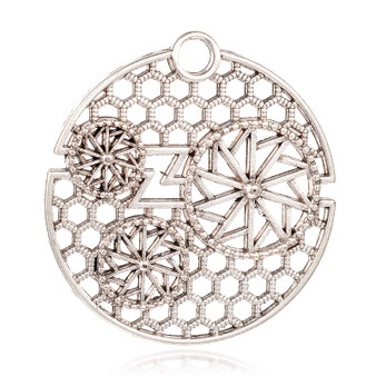 44x41x2mm - Antique Silver - 2 pack - Flat Round Tibetan Style Alloy Filigree Pendants