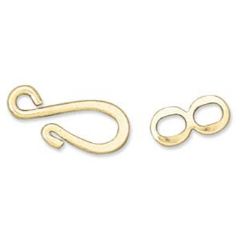 16x6.5mm - Gold Plated - 10 pack -  Hook & Eye Clasp Set