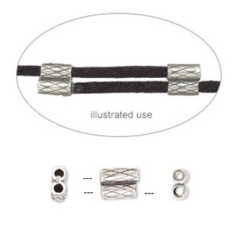 7.5x6mm - JBB Findings - antique silver-plated - 2 pack - Slide - Textured Double-Round tube, Fits 1.5mm cord