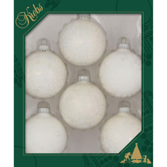 """2 5/8"""" (67mm) - White - Made in the USA Designer Seamless Glass Ball Christmas Ornament - Sold individually"""