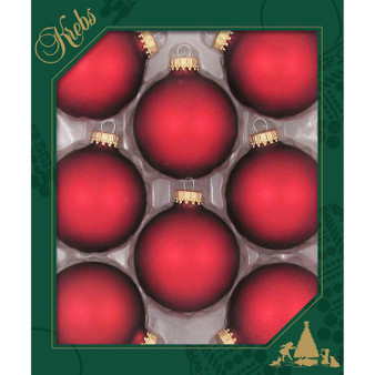 """2 5/8"""" (67mm) - Red Velvet - Made in the USA Designer Seamless Glass Ball Christmas Ornament - Sold individually"""