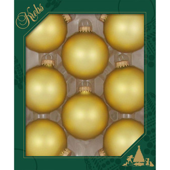 """2 5/8"""" (67mm) - Gold Velvet - Made in the USA Designer Seamless Glass Ball Christmas Ornament - Sold individually"""