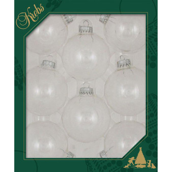 """2 5/8"""" (67mm) - Clear - Made in the USA Designer Seamless Glass Ball Christmas Ornament - Sold individually"""