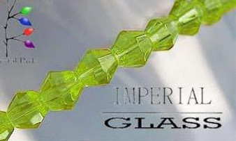 4mm - Imperial Glass - Yellowgreen - 2 strands - (approx 180pcs) - Glass Bicone