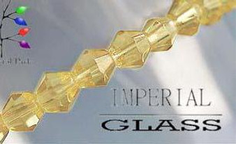 4mm - Imperial Glass - Yellow - 2 strands - (approx 180pcs) - Glass Bicone