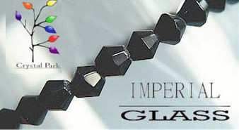 4mm - Imperial Glass - Black - 2 strands - (approx 180pcs) - Glass Bicone