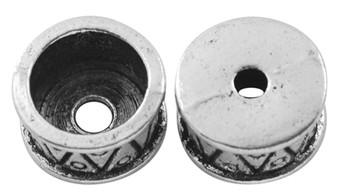 6 pack of Tibetan Style Bead Caps, Antique Silver, 15mm in diameter, 11mm inner diameter