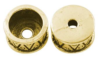 6 pack of Tibetan Style Bead Caps /Cird End, Antique Gold, 15mm in diameter, 11mm inner diameter