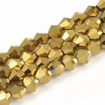 4mm - Handmade - Metalized Gold Plate - 2 strands - (approx 120pcs) - Glass Bicone